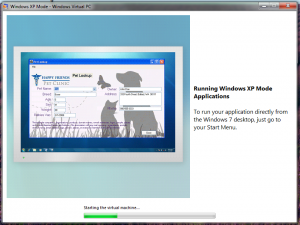 Microsoft Windows XP mode running the Happy Friends Pet Clinit application.